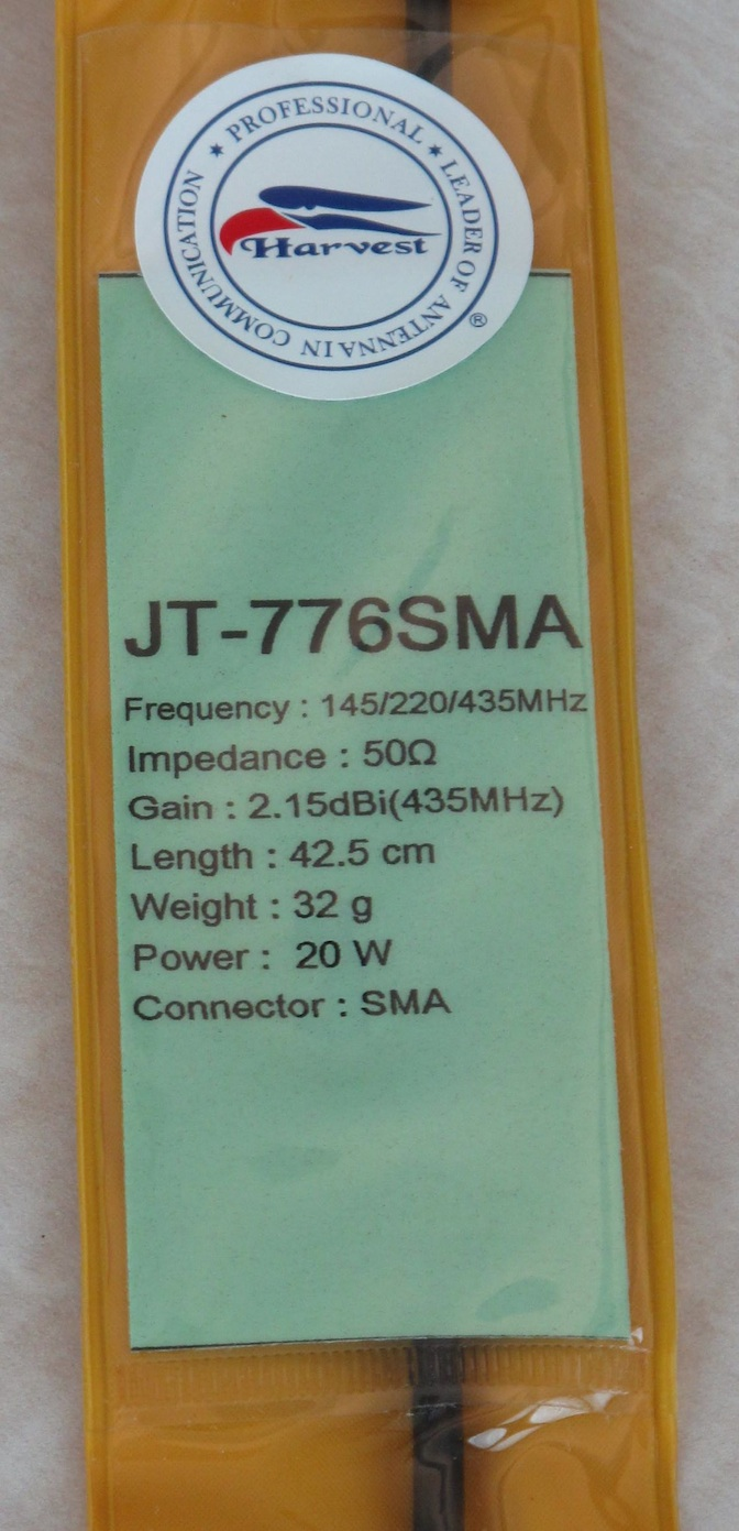 HARVEST JT 776 (145mhz/220mhz/435mhz) Tri-Band HT Antennas